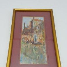 Arte: PEQUEÑO ÓLEO DE VENECIA SOBRE CARTULINA ( FIRMADO REBESCO ). Lote 180260456