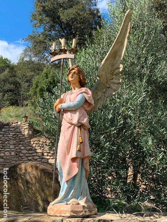 Arte: Excepcional angel o arcangel torchero, en estuco, ojos de cristal, de Olot, inmenso. - Foto 8 - 180276561