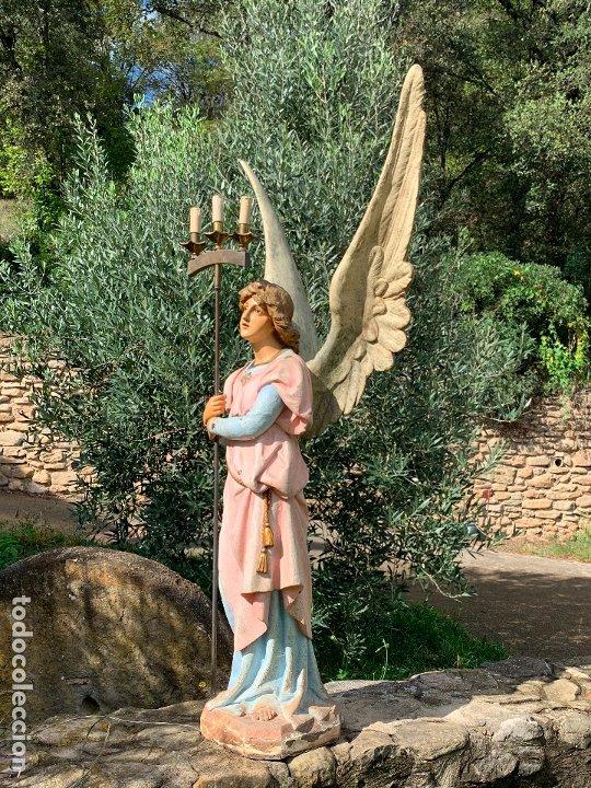 Arte: Excepcional angel o arcangel torchero, en estuco, ojos de cristal, de Olot, inmenso. - Foto 11 - 180276561