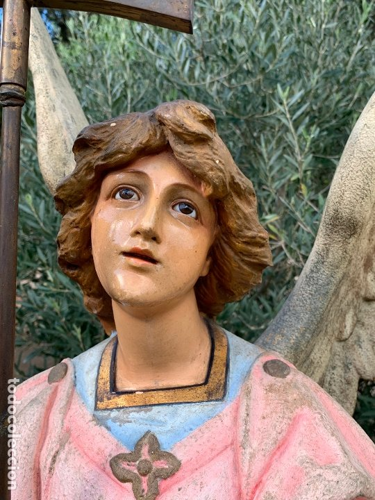 Arte: Excepcional angel o arcangel torchero, en estuco, ojos de cristal, de Olot, inmenso. - Foto 13 - 180276561