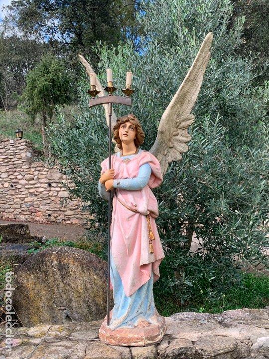 Arte: Excepcional angel o arcangel torchero, en estuco, ojos de cristal, de Olot, inmenso. - Foto 15 - 180276561