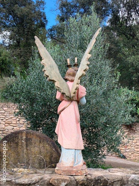 Arte: Excepcional angel o arcangel torchero, en estuco, ojos de cristal, de Olot, inmenso. - Foto 20 - 180276561