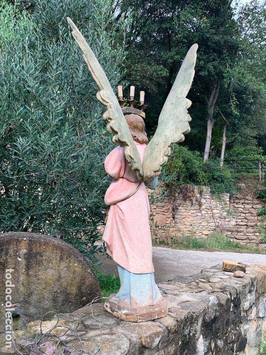 Arte: Excepcional angel o arcangel torchero, en estuco, ojos de cristal, de Olot, inmenso. - Foto 21 - 180276561