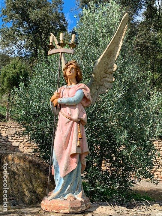 Arte: Excepcional angel o arcangel torchero, en estuco, ojos de cristal, de Olot, inmenso. - Foto 22 - 180276561