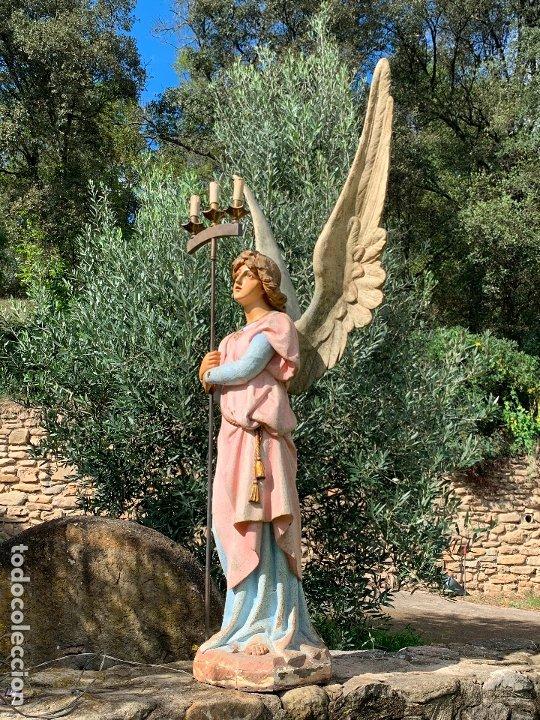 Arte: Excepcional angel o arcangel torchero, en estuco, ojos de cristal, de Olot, inmenso. - Foto 24 - 180276561