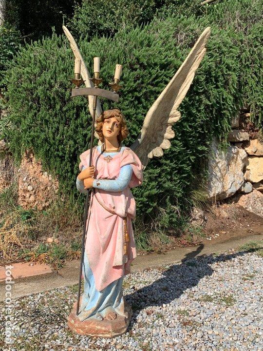 Arte: Excepcional angel o arcangel torchero, en estuco, ojos de cristal, de Olot, inmenso. - Foto 25 - 180276561