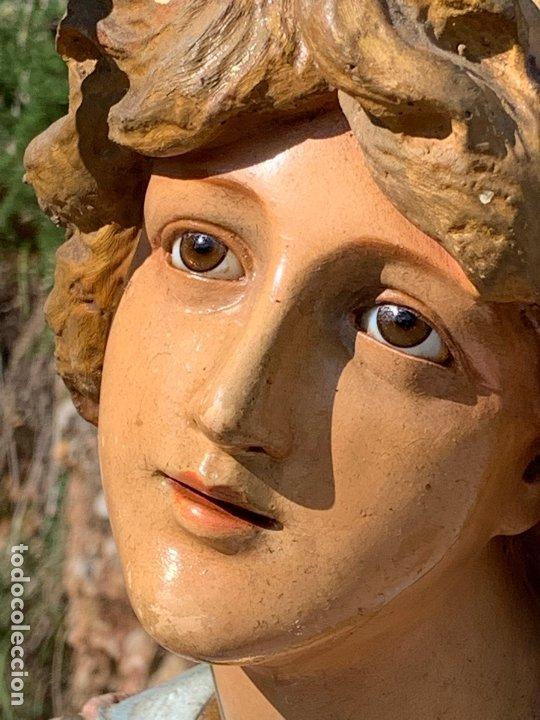 Arte: Excepcional angel o arcangel torchero, en estuco, ojos de cristal, de Olot, inmenso. - Foto 26 - 180276561