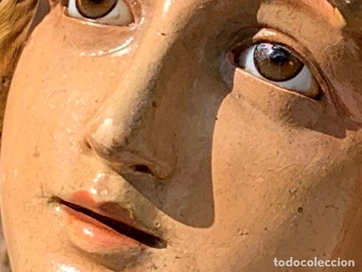 Arte: Excepcional angel o arcangel torchero, en estuco, ojos de cristal, de Olot, inmenso. - Foto 27 - 180276561