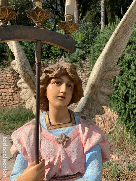 Arte: Excepcional angel o arcangel torchero, en estuco, ojos de cristal, de Olot, inmenso. - Foto 28 - 180276561
