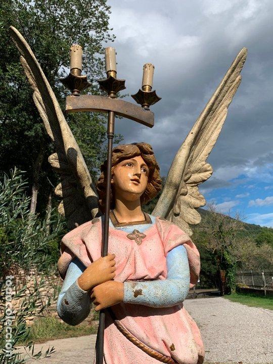 Arte: Excepcional angel o arcangel torchero, en estuco, ojos de cristal, de Olot, inmenso. - Foto 29 - 180276561