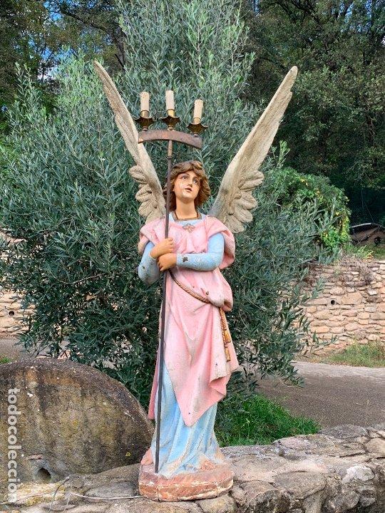Arte: Excepcional angel o arcangel torchero, en estuco, ojos de cristal, de Olot, inmenso. - Foto 30 - 180276561