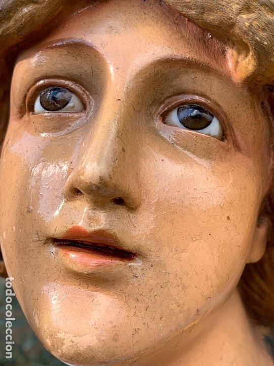 Arte: Excepcional angel o arcangel torchero, en estuco, ojos de cristal, de Olot, inmenso. - Foto 31 - 180276561