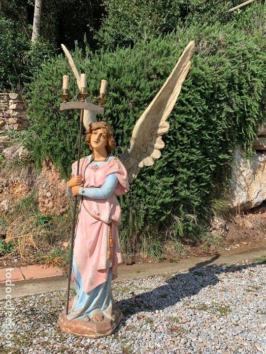 Arte: Excepcional angel o arcangel torchero, en estuco, ojos de cristal, de Olot, inmenso. - Foto 33 - 180276561