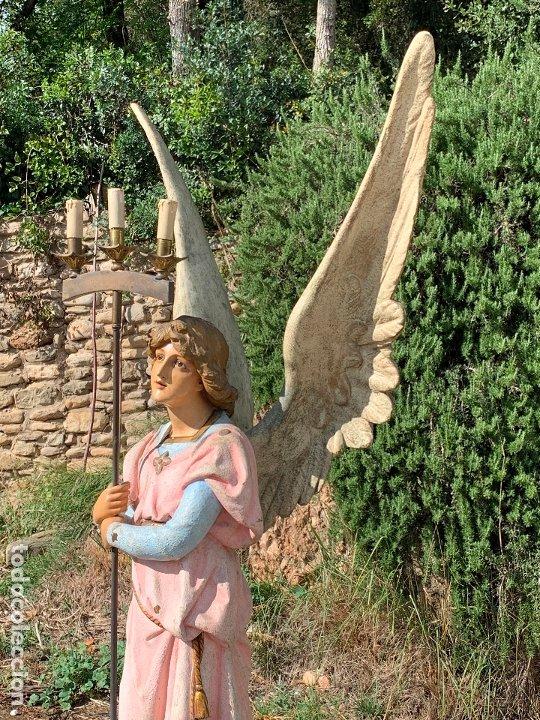 Arte: Excepcional angel o arcangel torchero, en estuco, ojos de cristal, de Olot, inmenso. - Foto 36 - 180276561
