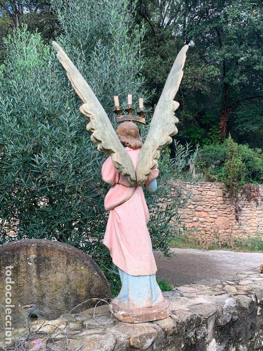 Arte: Excepcional angel o arcangel torchero, en estuco, ojos de cristal, de Olot, inmenso. - Foto 38 - 180276561