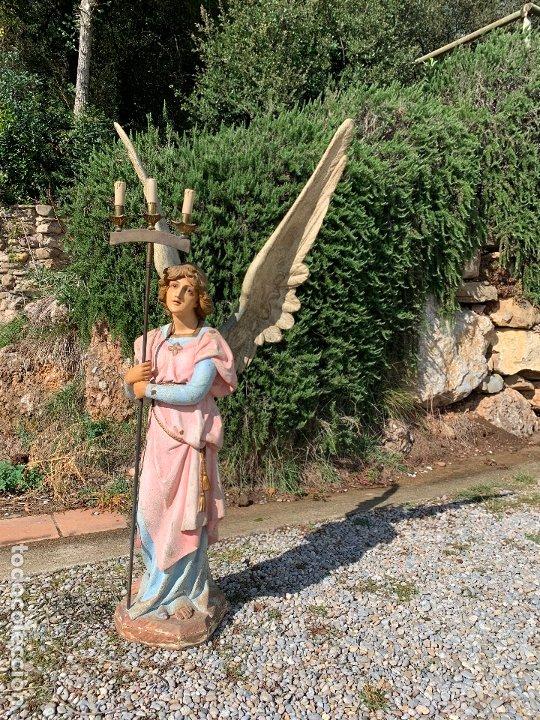 Arte: Excepcional angel o arcangel torchero, en estuco, ojos de cristal, de Olot, inmenso. - Foto 41 - 180276561