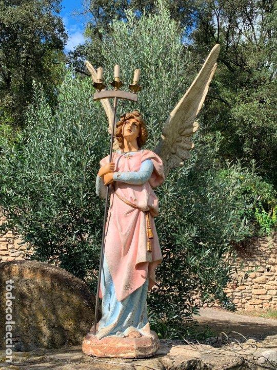 Arte: Excepcional angel o arcangel torchero, en estuco, ojos de cristal, de Olot, inmenso. - Foto 50 - 180276561