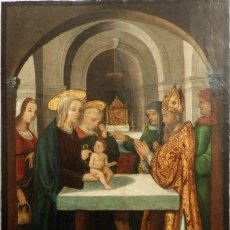 Arte: LA PRESENTACIÓN DEL NIÑO JESÚS EN EL TEMPLO. ÓLEO SOBRE TABLA DEL SIGLO XVI. MIDE 91 X 61 CM.. Lote 180286086