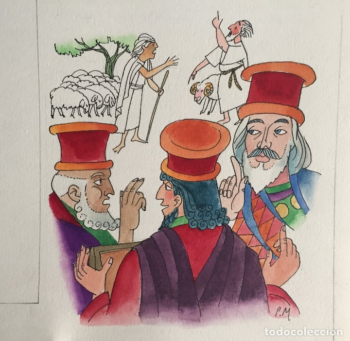 MOISES ELIGE JUECES PARA ISRAEL, PIERRE MONNERAT (SUIZA 1917-ESPAÑA 2005) (Arte - Arte Religioso - Pintura Religiosa - Acuarela)