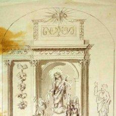 Arte: PROYECTO DE RETABLO NEOCLÁSICO. ACUARELA SOBRE PAPEL. FIRMADO. ESPAÑA. FIN SIGLO XVIII. Lote 180469426