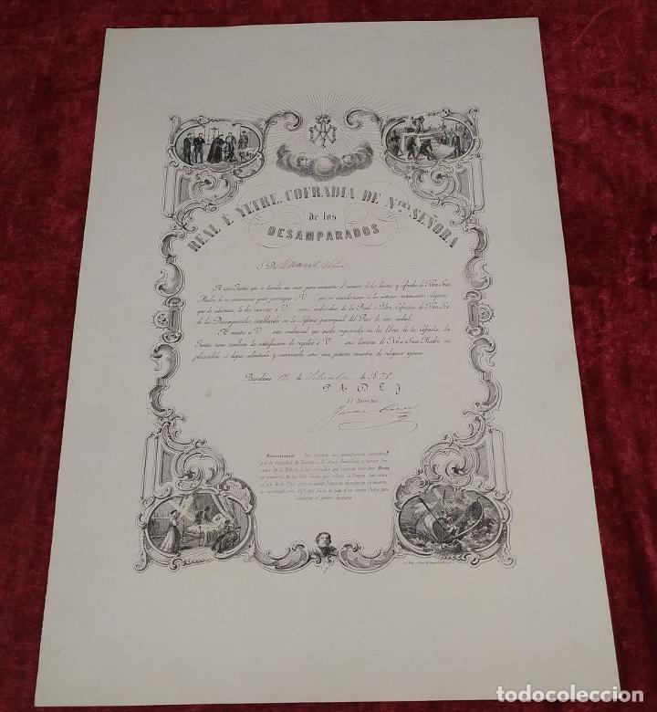 Arte: LITOGRAFÍA DE LA VIRGEN DE LOS DESAMPARADOS. IMP. ROIG. BARCELONA. ESPAÑA. 1879 - Foto 2 - 180478076