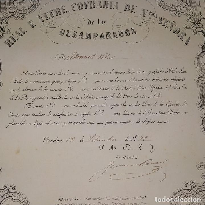 Arte: LITOGRAFÍA DE LA VIRGEN DE LOS DESAMPARADOS. IMP. ROIG. BARCELONA. ESPAÑA. 1879 - Foto 3 - 180478076