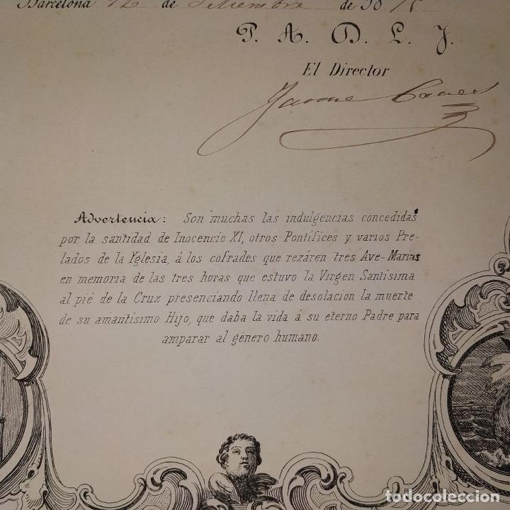 Arte: LITOGRAFÍA DE LA VIRGEN DE LOS DESAMPARADOS. IMP. ROIG. BARCELONA. ESPAÑA. 1879 - Foto 4 - 180478076