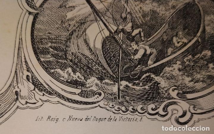 Arte: LITOGRAFÍA DE LA VIRGEN DE LOS DESAMPARADOS. IMP. ROIG. BARCELONA. ESPAÑA. 1879 - Foto 7 - 180478076