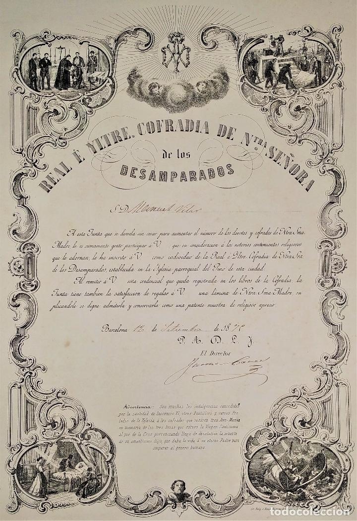 LITOGRAFÍA DE LA VIRGEN DE LOS DESAMPARADOS. IMP. ROIG. BARCELONA. ESPAÑA. 1879 (Arte - Arte Religioso - Litografías)