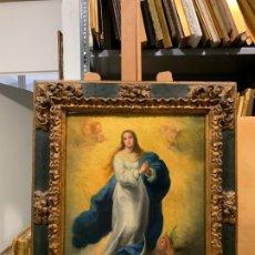 Arte: MAGNFICA INMACULADA DE MURILLO, CON MARCO BARROCO SEVILLANO. Lote 180481422