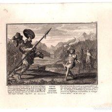 Arte: GRABADO RELIGIOSO DAVID COMBATE A GOLIATH. SIGLO XVIII. Lote 180860695