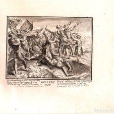 Arte: GRABADO RELIGIOSO GOLIATH DERROTADO POR DAVID. SIGLO XVIII. Lote 180862776