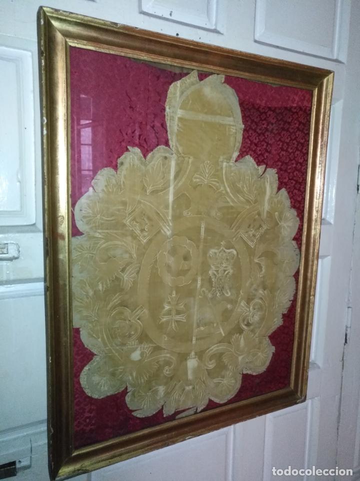 MUY ANTIGUO GRABADO ESCUDO VIRGEN DIVINA PASTORA DE LAS ALMAS DE CADIZ - MARCO MADERA ORO (Arte - Arte Religioso - Grabados)