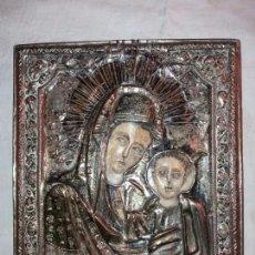 Arte: ICONO VIRGEN NIÑO SIGLO XVI MARFIL COBRE BUEN ESTADO. Lote 180941140