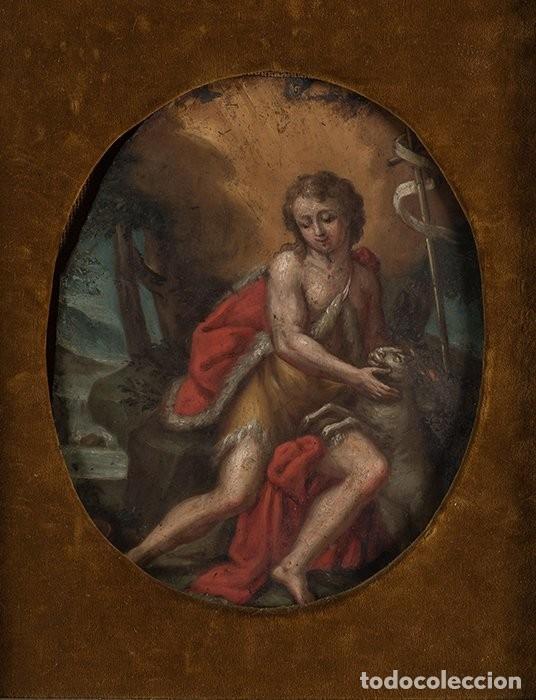 ÓLEO S/COBRE -SAN JUAN BAUTISTA-. ESCUELA ITALIANA S. XVII. DIM.- 30X36 CMS. (Arte - Arte Religioso - Pintura Religiosa - Oleo)