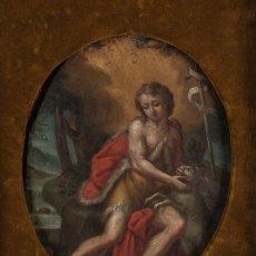 Arte: ÓLEO S/COBRE -SAN JUAN BAUTISTA-. ESCUELA ITALIANA S. XVII. DIM.- 30X36 CMS.. Lote 180995058