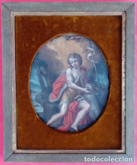 Arte: ÓLEO S/COBRE -SAN JUAN BAUTISTA-. ESCUELA ITALIANA S. XVII. DIM.- 30X36 CMS. - Foto 2 - 180995058