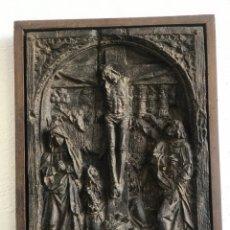 Arte: RETABLO DE LA CRUCIFIXIÓN A TRAVÉS DEL CALVARIO. ESTUCO FINALES DEL S.XIX.. Lote 181031092