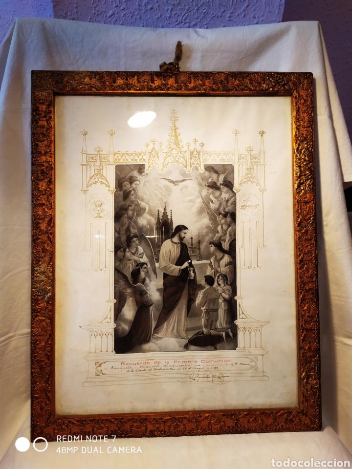 Arte: GRABADO DE 1922, RECUERDO DE PRIMERA COMUNIÓN, ENMARCADO, ÚNICO EN INTERNET, VER - Foto 3 - 181187446