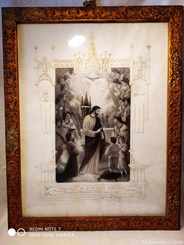 GRABADO DE 1922, RECUERDO DE PRIMERA COMUNIÓN, ENMARCADO, ÚNICO EN INTERNET, VER (Arte - Arte Religioso - Grabados)