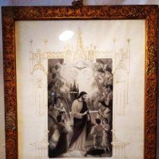 Arte: GRABADO DE 1922, RECUERDO DE PRIMERA COMUNIÓN, ENMARCADO, ÚNICO EN INTERNET, VER. Lote 181187446