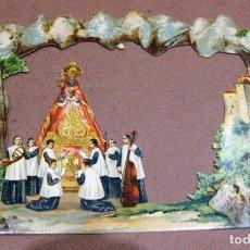 Arte: 2 LAMINAS CARTEL TROQUELADO MONTAÑA DE MONTSERRAT VIRGEN MONAGUILLOS 20/14 CM. Lote 181322282