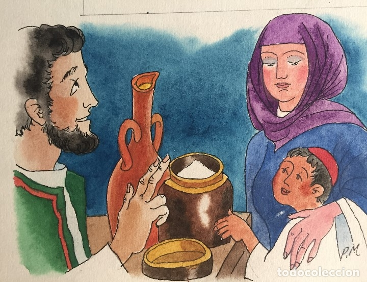 ELÍAS Y LA VIUDA POBRE .PIERRE MONNERAT (SUIZA 1917-ESPAÑA 2005).FIRMADO (Arte - Arte Religioso - Pintura Religiosa - Otros)