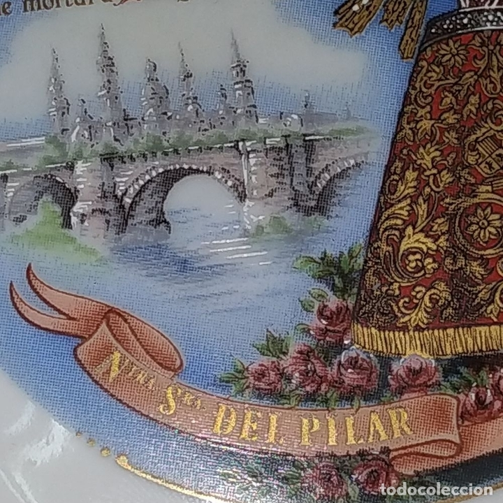 Arte: MEDALLÓN DE LA VIRGEN DEL PILAR. PORCELANA ESMALTADA Y DORADA. ESPAÑA. CIRCA 1960 - Foto 5 - 181358473