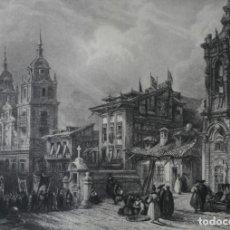 Arte: ANTIGUO GRABADO INGLES S. XIX: CALLE SAN BERNARDO IGLESIA NOVICIADO JESUITAS MADRID. ROBERTS ALLEN. Lote 181404635