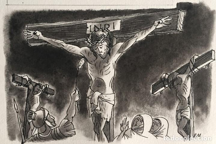 JESÚS EN LA CRUZ. PIERRE MONNERAT (SUIZA 1917-ESPAÑA 2005) (Arte - Arte Religioso - Pintura Religiosa - Acuarela)