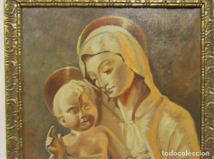 Arte: OLEO SOBRE LIENZO VIRGEN CON NIÑO FIRMADO J. BARRAQUER 1945 - Foto 2 - 181468066