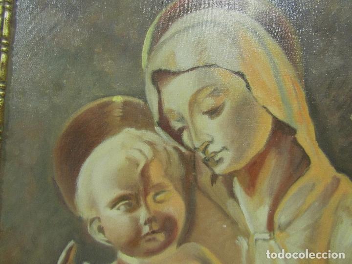 Arte: OLEO SOBRE LIENZO VIRGEN CON NIÑO FIRMADO J. BARRAQUER 1945 - Foto 3 - 181468066