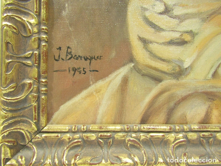Arte: OLEO SOBRE LIENZO VIRGEN CON NIÑO FIRMADO J. BARRAQUER 1945 - Foto 4 - 181468066