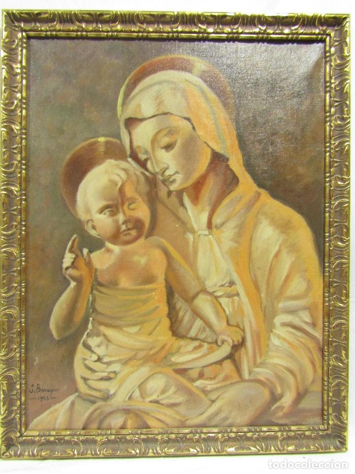 OLEO SOBRE LIENZO VIRGEN CON NIÑO FIRMADO J. BARRAQUER 1945 (Arte - Arte Religioso - Pintura Religiosa - Oleo)
